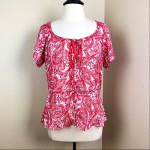 Lucky Brand Paisley Peasant Top Size: XL